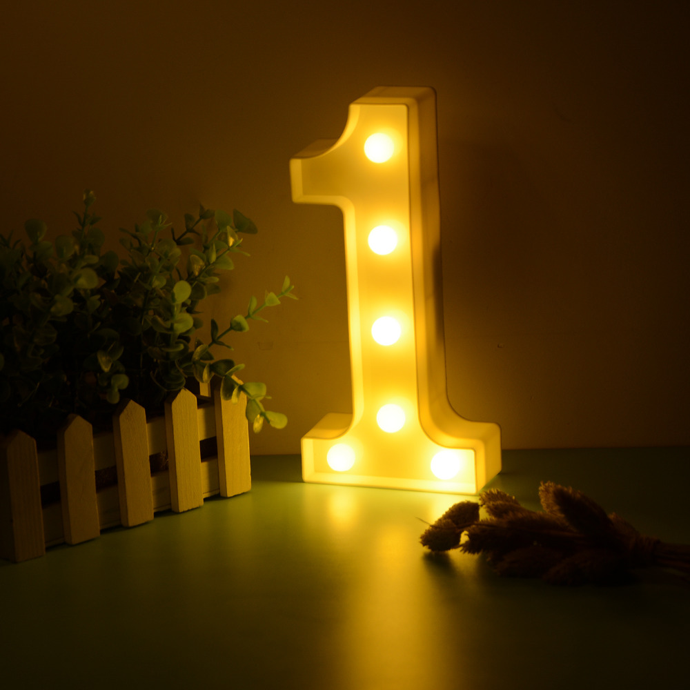 10 Numbers White Plastic LED Night Light Marquee Lights Lamp Home ...