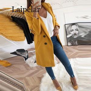 Image 2 - Abrigo de primavera y otoño a la moda para mujer, chaqueta elegante para todos los días, abrigo de lana fino de longitud media, 2020