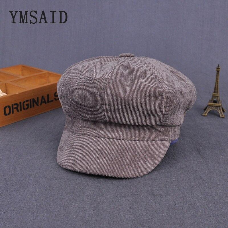 Ymsaid 2017 new winter England Vintage Corduroy Cap Thick Woman Beret Hat Octagonal Cap Beret Men Winter Hat Cabbie Hats