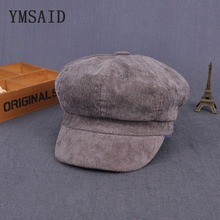 Winter Hat Beret-Hat Octagonal-Cap England Vintage Thick Woman Ymsaid Corduroy-Cap Cabbie