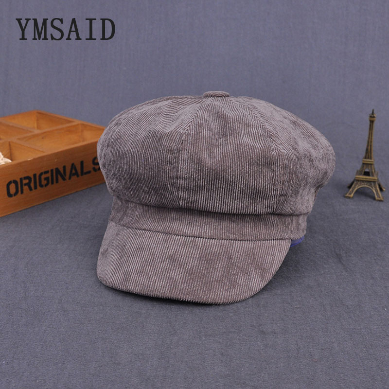bac993f71 US $6.11 42% OFF|Ymsaid 2018 new winter England Vintage Corduroy Cap Thick  Woman Beret Hat Octagonal Cap Beret Men Winter Hat Cabbie Hats-in Men's ...