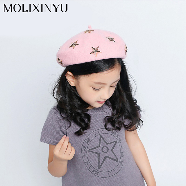 MOLIXINYU 2018 Fashion Wool Baby Beret Hats Candy Color Baby Girl Winter  Beret Cap For 2 16f5f02c008