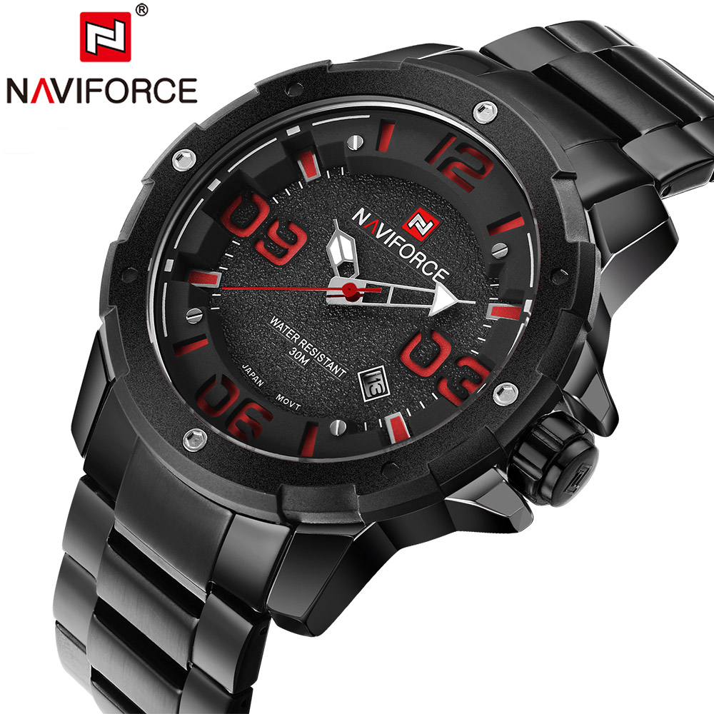 NAVIFORCE Luxury Brand Men Army Military Sports Watches Men's Quartz Clock Male Full Steel Sports Wrist Watch Relogio Masculino luxury brand men s quartz date week display casual watch men army military sports watches male leather clock relogio masculino