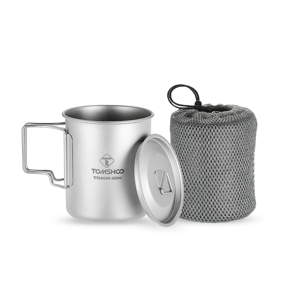 Image 4 - TOMSHOO 450ml Titanium Cup Outdoor Water Cup Portable Camping Tableware Picnic Water Cup Mug with Lid Foldable Handle-in Outdoor Tablewares from Sports & Entertainment
