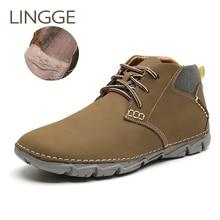 LINGGE/брендовая зимняя обувь мужские ботинки теплые мужские ботинки из натуральной кожи на меху Мужская обувь ручной работы размера плюс повседневные ботильоны на шнуровке