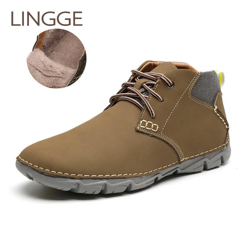 e0ac20679 LINGGE/брендовая зимняя обувь, мужские ботинки, 100% натуральная кожа,  теплые меховые