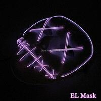 Parlayan Yanıp Sönen Gece Bar Kafatası Yüz Masquerade Maske Cadılar Bayramı Maskesi Parti Dekor LED Neon Işık DC-3V Tarafından Dehşete Palyaço Maskesi