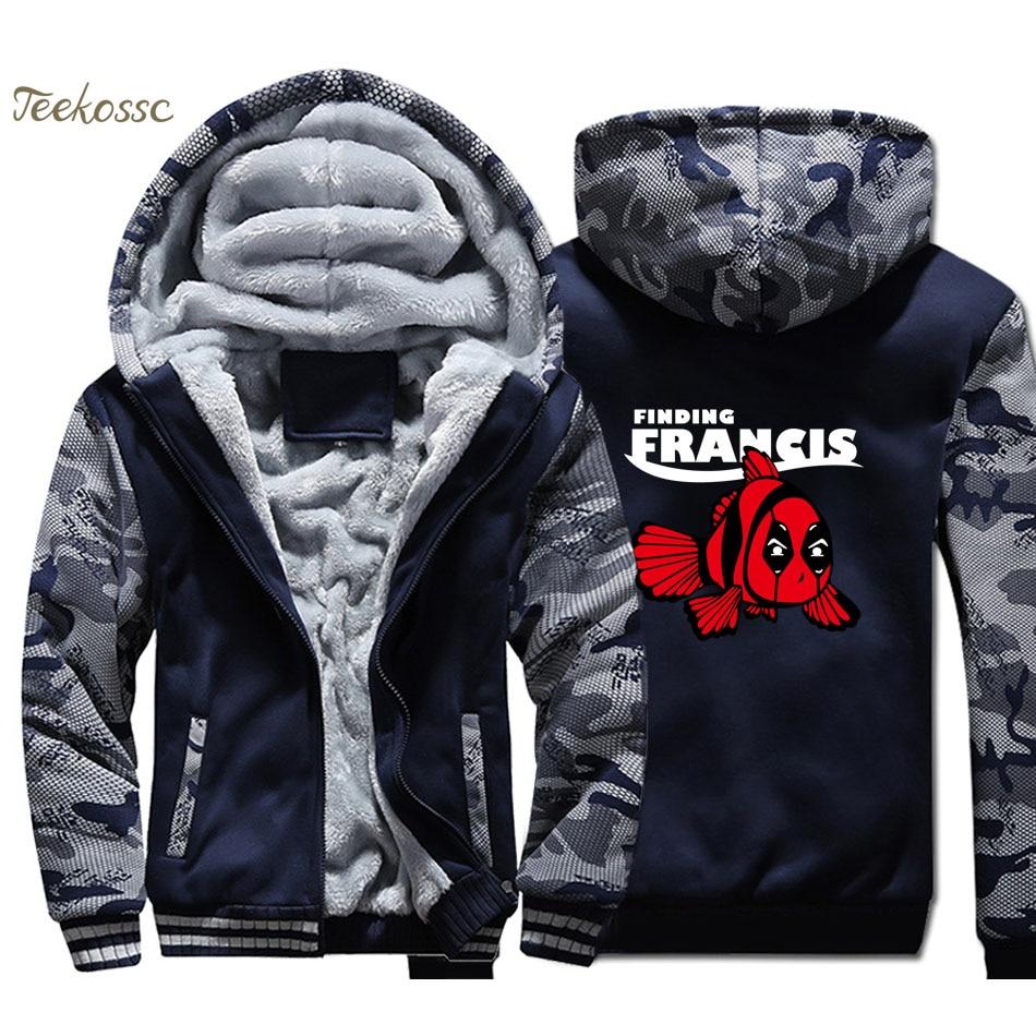 Dead Pool Fish Hoodie Zipper Coat Winter Fleece Mens Thicken Jacket Sweatshirts