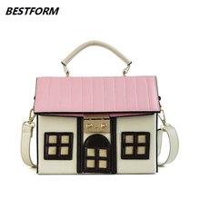BESTFORM 2019 Bag For Women Leather Handbags House Shaped Ladies Shoulder Female Luxury Handbag Flap Cute Messenger