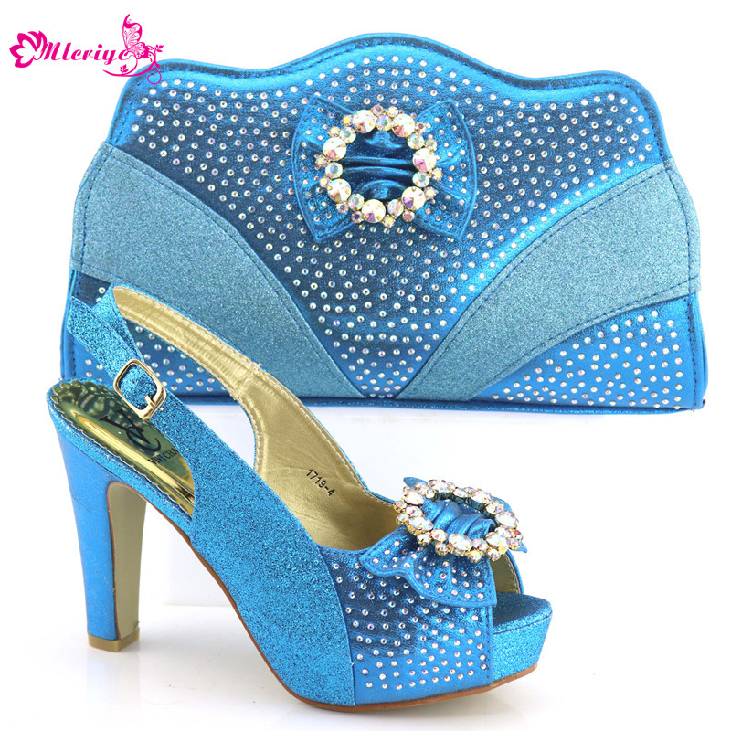 New Arrival Ladies Italian Shoes and Bag Set Decorated with Rhinestone African Women Italian Women Shoes and Bag Set for Wedding цена