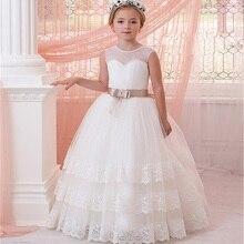 ใหม่ Cascading ลูกไม้ชุดเดรสดอกไม้สำหรับงานแต่งงาน First Communion กับริบบิ้นสาวชุด