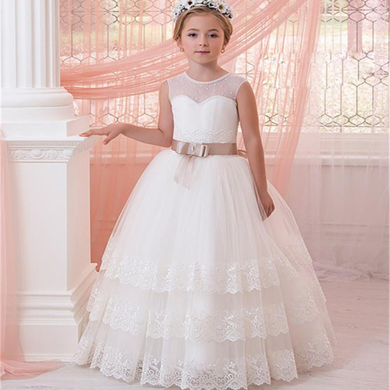 New sleeveless Cascading Lace   Flower     Girl     Dresses   For Weddings First Communion   Dresses   With Ribbons   Girls   Pageant Gown