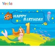 Yeele Vinyl Sea Fish Mermaid Baby Girl 1st Birthday Party Photography Background Princess Photographic Backdrop Photo Studio цена
