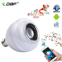 Free Shipping Wireless Bluetooth 12W LED Speaker Bulb Audio Speaker E27 Colorful Music Playing Lights 24