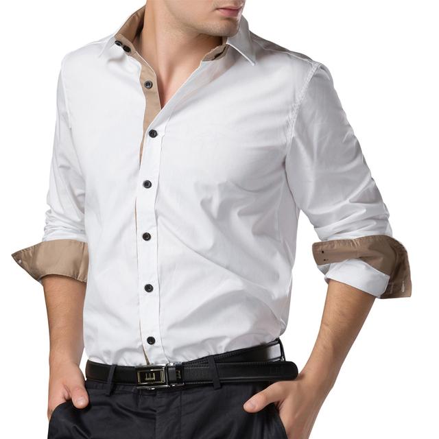 2016 camisa de manga larga slim fit hombres camisas hombre Multi Color Blusa Cómoda de Los Hombres Camisas de Vestir Business Casual Botón-Front Tops