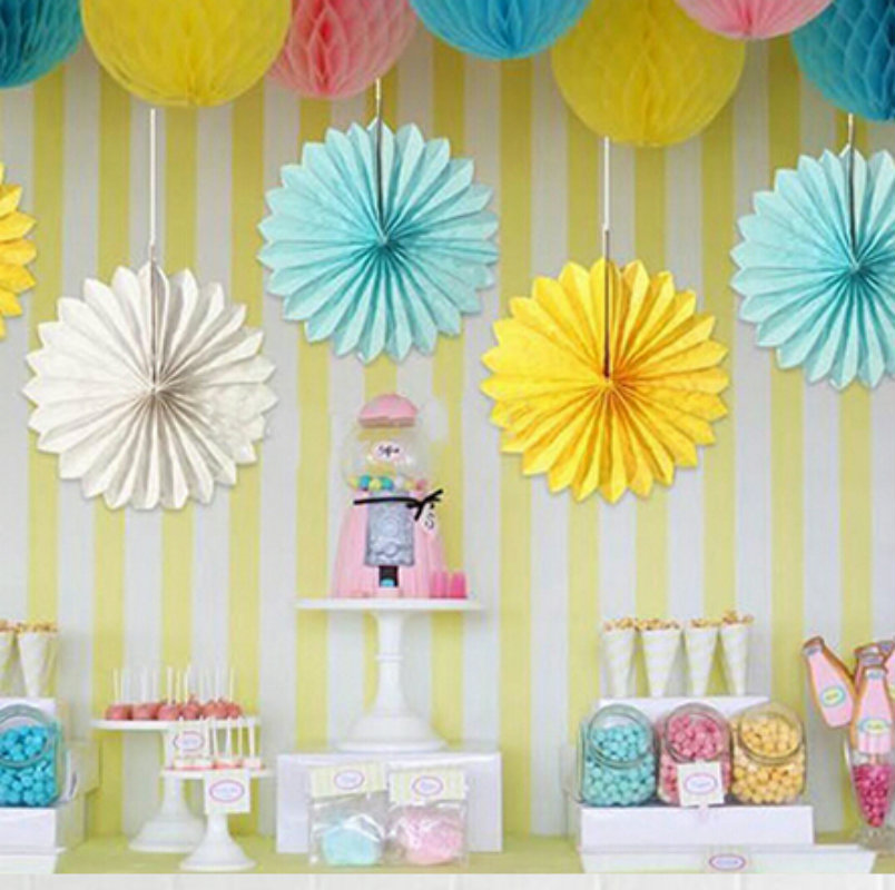 12 inch 30cm 5pcs lot tissue paper fan wedding decoration minions