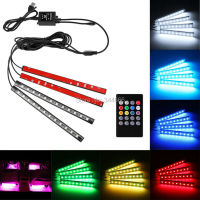 Car Styling LED 12V Wireless Remote Music Voice Control Car RGB LED Interior Flexible Strip Lamp