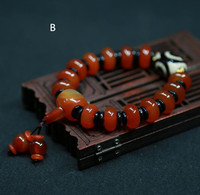 Female models natural Tibetan pearl red hand string three eyes Tibetan old beads beads bracelet