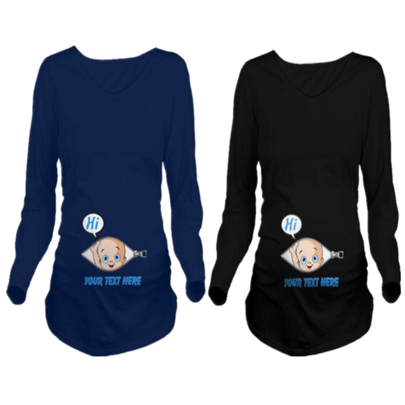 European American Autumn Winter Maternity Shirt Plus Size Funny Baby Printed Casual Women's Clothing Long Sleeves Pregnant Tops