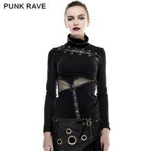 2017 Punk Rave Black Steampunk  Style Hollow out Hight Coallor summer Woman T-shirt women T-432