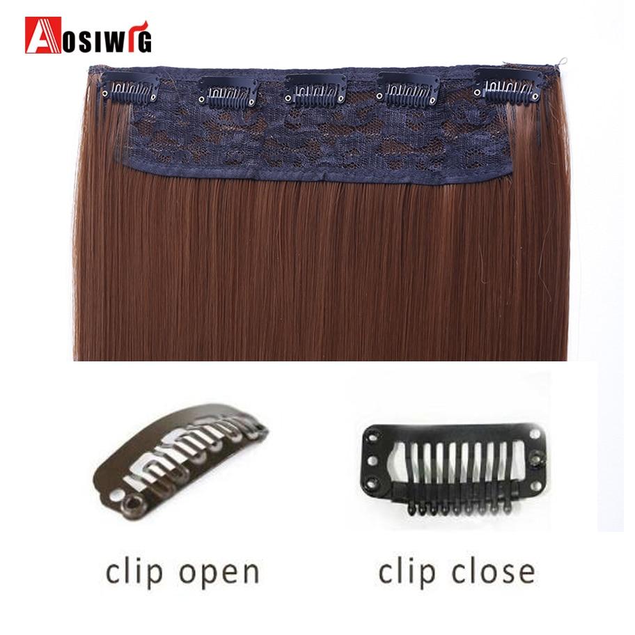 AOSIWIG 5 Clip Long Straight Naturliga Hårförlängningar High - Syntetiskt hår - Foto 3