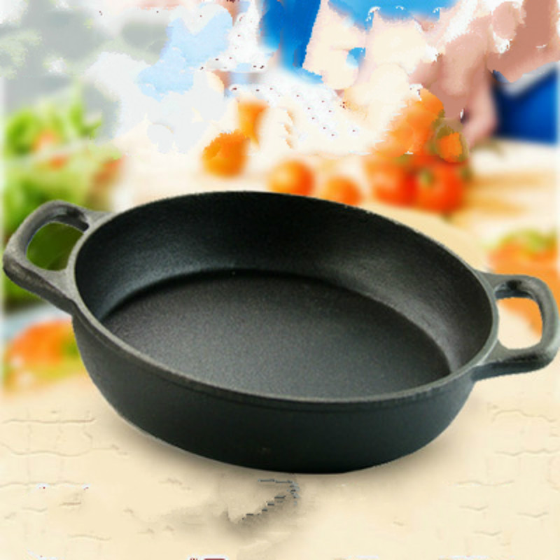 Cast Iron GRILL Pan Skillet Pot WOK Cookware Kitchen Cooking Tools NO COVER