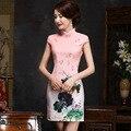 Sexy Pink Cheongsam Women Summer 2017 Flowers Silk Cheongsams Dress Short Chinese Traditional Dress Cheongsam Qipao