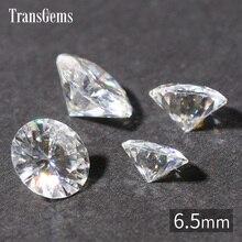 TransGem 6.5mm 1ct Carat F Colorless Round Brilliant Cut Moissanite Loose Lab Diamond Gemstone Test as piedras preciosas sueltas