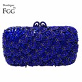 Women Sapphire Blue Gem Crystal Rhinestones Box Evening Bag Wedding Party Bridal Handbags Purses Metal Clutches Shoulder Bags