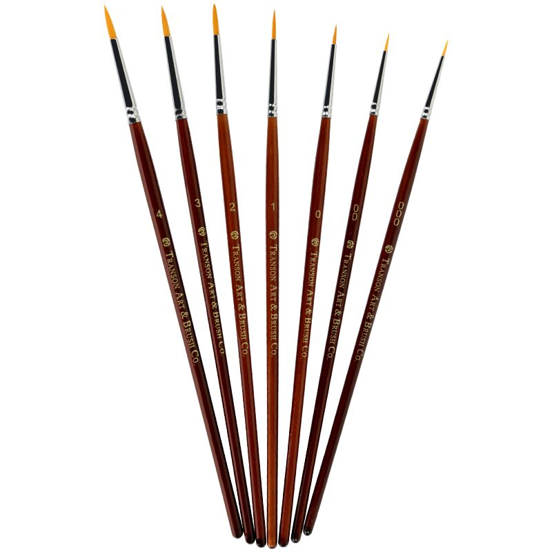 7pcs A Set Point Head Nylon Hair Wooden Handle Artist Watercolor Lettering Paint Brush Set,script Brushes, Liner Brush,free Ship