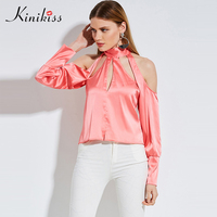 Kinikiss Women Tops Blouse Sexy Imitation Silk Pink Evening Party Blouse Cold Shoulder Backless Hollow Out Blouses Shirts