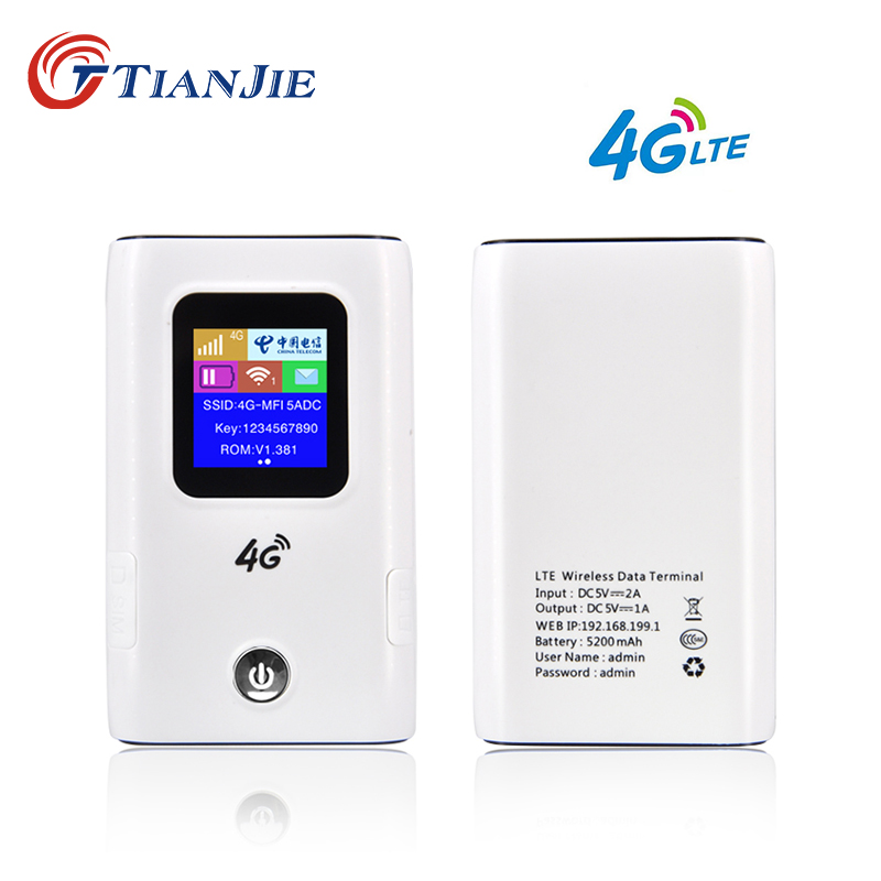 TIANJIE MF905C portable 5200mAh power bank 3G 4G LTE wifi Wireless Unlocked 4g router pocket car