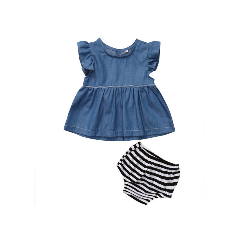 Summer Fashion Casual 2PCS Newborn Infant Baby Girls Cotton Sleeveless O-Neck Pullover Denim Shirt Tops Striped Shorts0 0-24M 2pcs children outfit clothes kids baby girl off shoulder cotton ruffled sleeve tops striped t shirt blue denim jeans sunsuit set