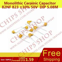 1 лот = 50 шт. монолитную Керамика конденсатор 82nf 823 10% 50 В DIP 5.08 мм 82000pf 0.082 мкФ