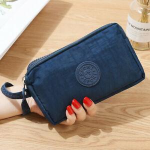 Модные Женские однотонные 3 Слои холст телефона короткий бумажник три-Слои для монет на молнии-карта для ключей - Цвет: Синий