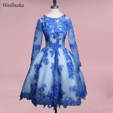 Weilinsha Royal Blue Long Sleeves Cocktail Party Dresses Muslim Prom Gown Formal Short Homecoming Dresses