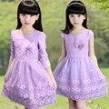 Meninas Vestem Crianças Vestidos de Rendas de Croché Suspender Princesa Vestidos para Meninas Vestidos Da Menina de Flor Crianças Roupas de Bebê GH407