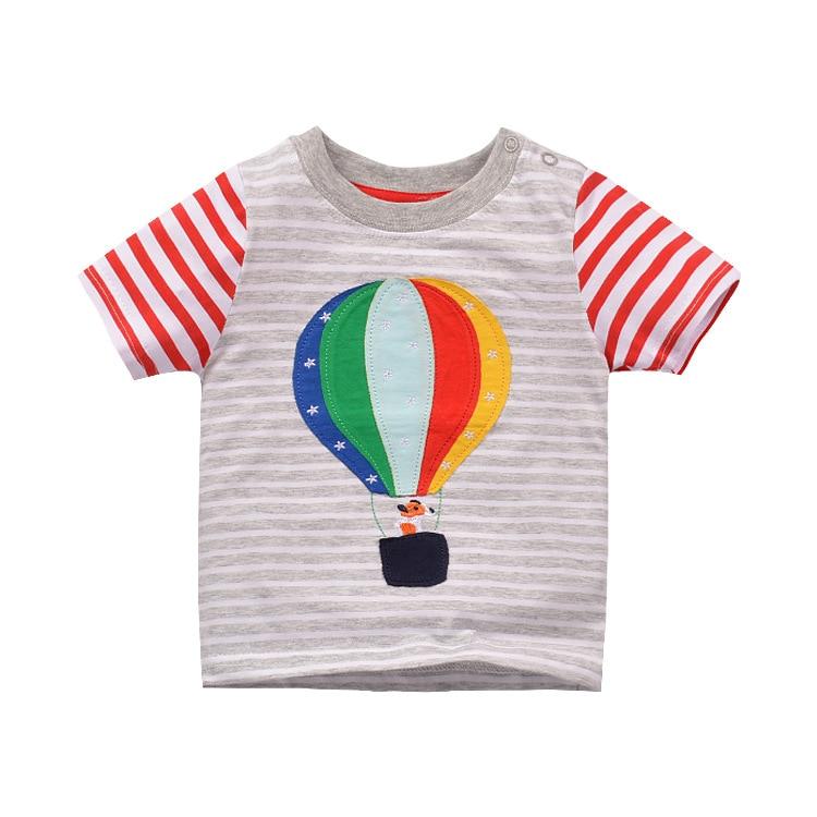 Algodón de manga corta camiseta de los niños patrón de globo de aire caliente niños niñas camiseta desgaste de los niños ropa de verano de dibujos animados camiseta para niño