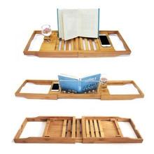 Бамбуковый деревянный лоток для ванной, регулируемый органайзер для ванной комнаты, подставка для чтения, держатель для планшета, держатель для мобильного телефона, бокал для вина, роскошное удовольствие