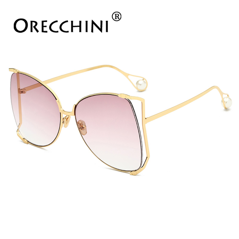 ORECCHINI Pearl Vintage Women Oversized Sunglassess Men Fashion Exquisite Luxury Sunglasses lunette soleil femm UV400 MSF7121
