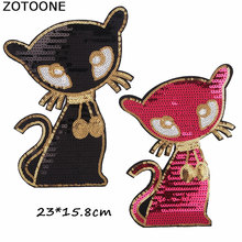 ZOTOONE Cute Sequin Patches for Clothing Big Cartoon Black Red Cat Iron on Patch DIY Stripes Clothes Stickers Custom Badges E