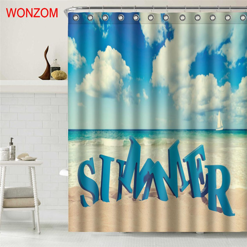WONZOM Summer Beach Wave Shower Curtain Fabric Bathroom Decor Decoration Cortina De Bano Polyester Cloud Bath With Hooks