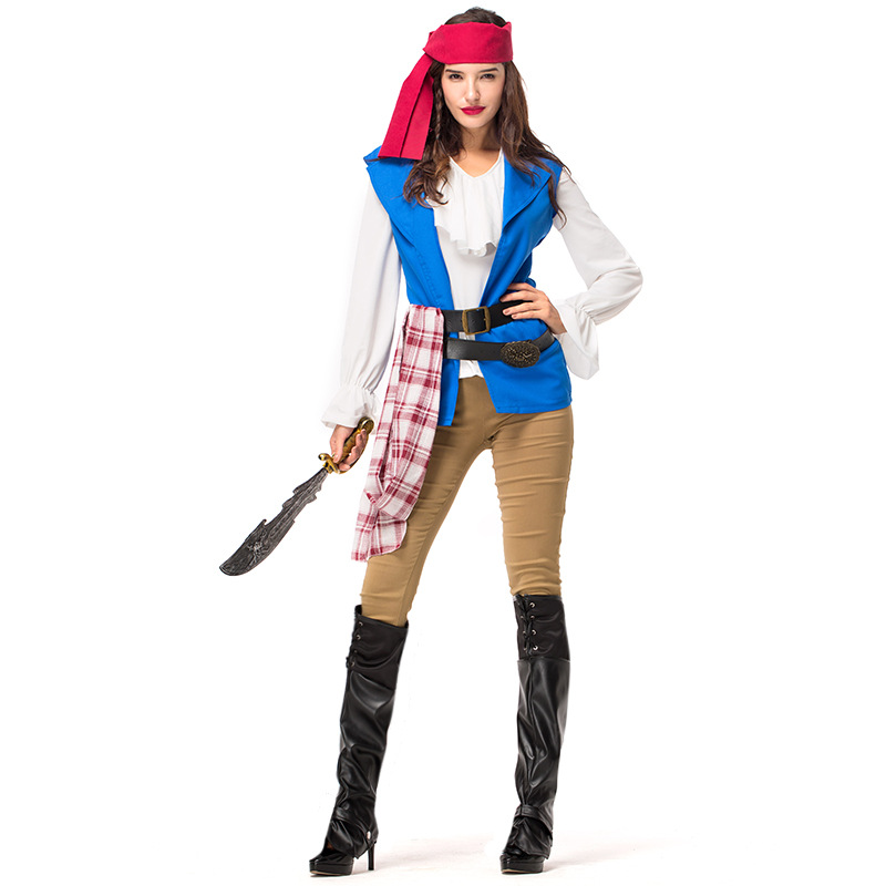 Women Pirates of the Caribbean Pirate Halloween Carnival Cosplay Costume Fancy Adult shirt+vest+pant+belt +headband+foot set