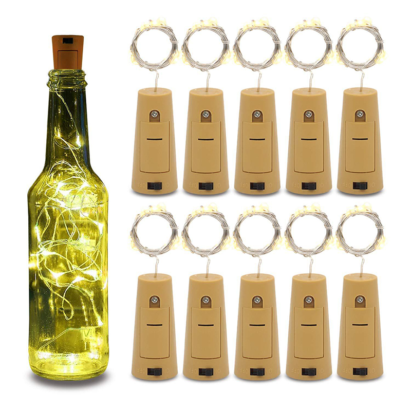10Pcs/Lot 2M 20LED Fairy Lights Wine Bottle String Lights Wedding Decoration Copper Wire For Garden Party Holiday Home Decor