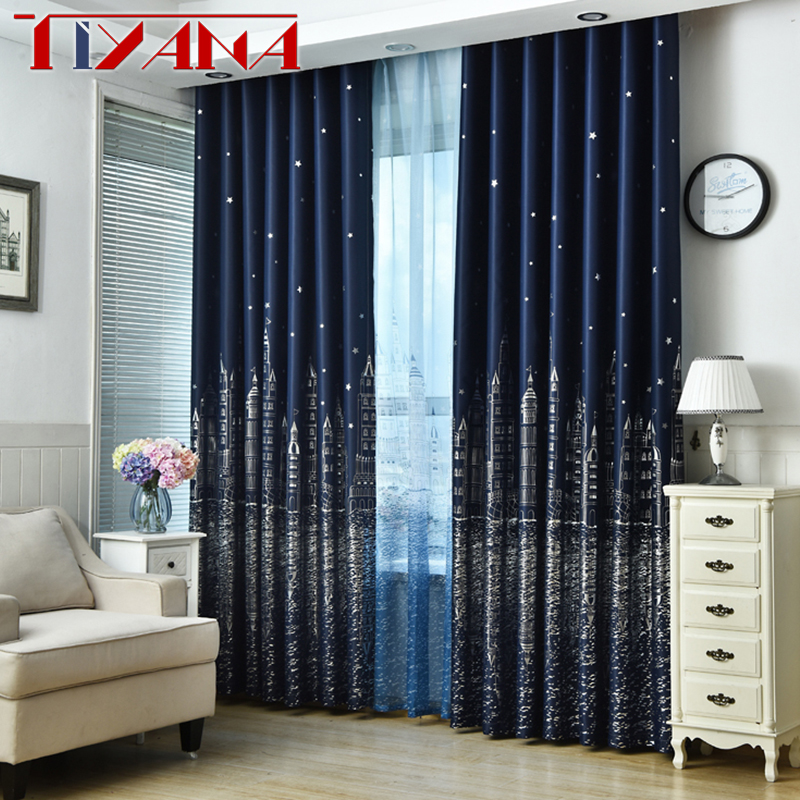Blue Star Castle High Shading Curtains For Child Room Cartoon Curtains Tulle For Baby Boys Bedroom Blackout Curtains wp230&20