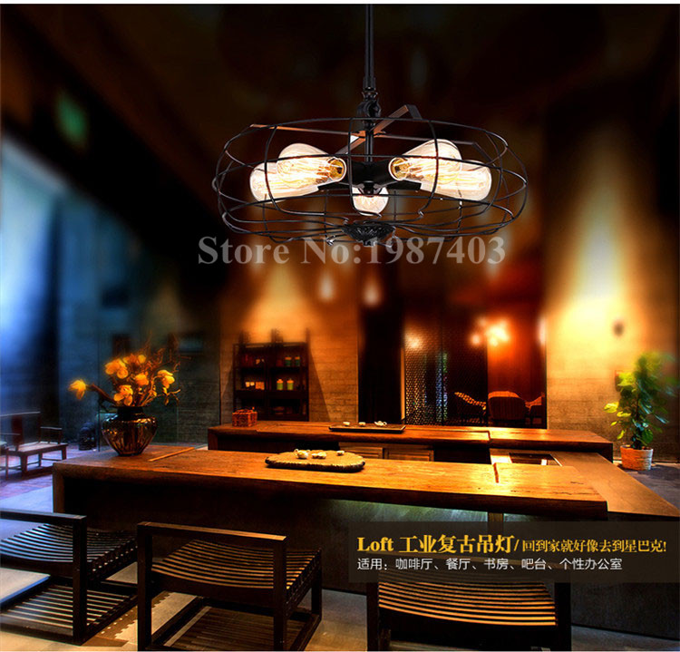 loft industrial and post-modern perfect art Pendant Lights American Village classic fan iron fixtures for bar corridor