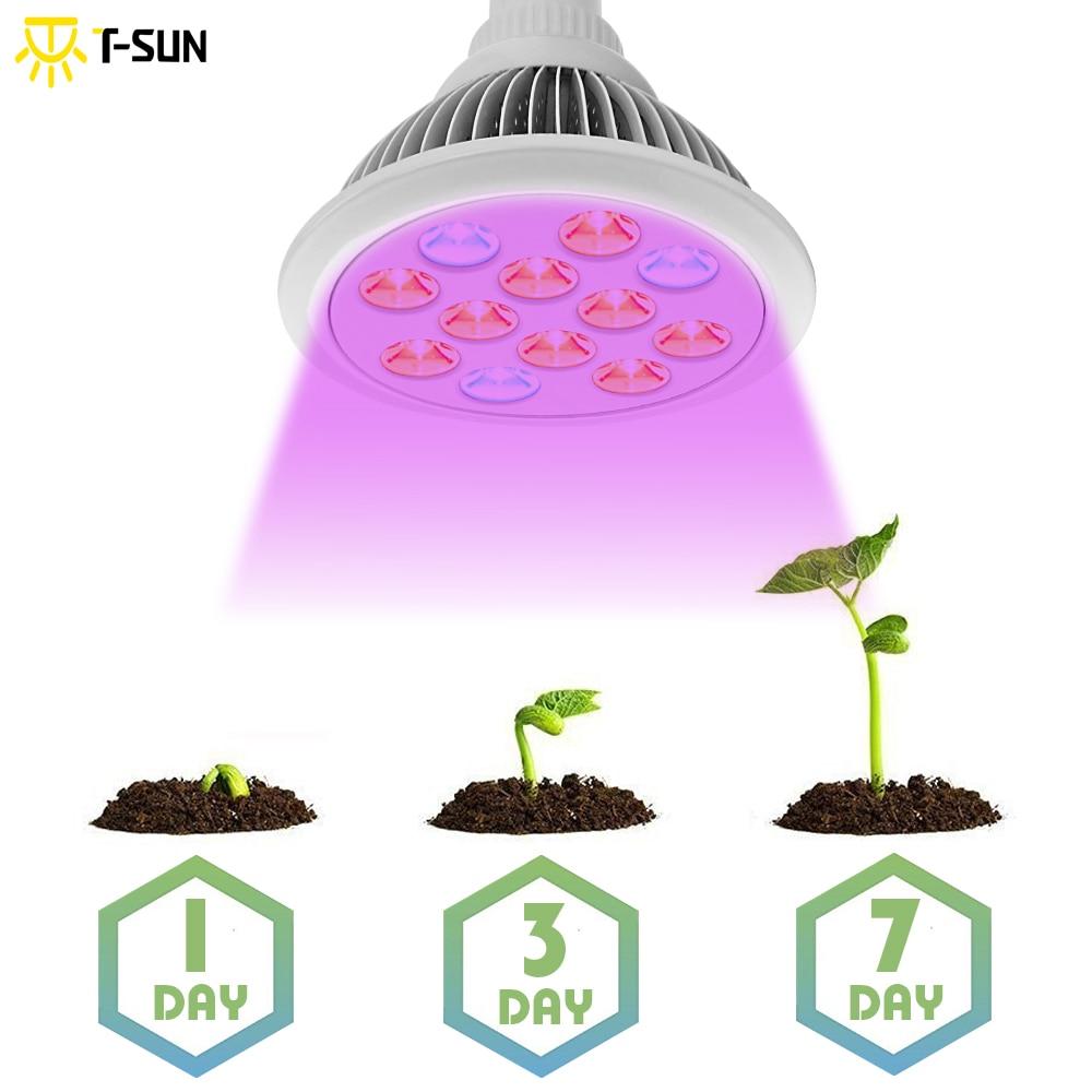T-SUNRISE 2 ชิ้นแพ็ค 12 วัตต์ Led เติบโตไฟเติบโตโคมไฟหลอดไฟสำหรับดอกไม้พืชผลไม้ led ไฟเติบโตโคมไฟสำหรับเรือนกระจก