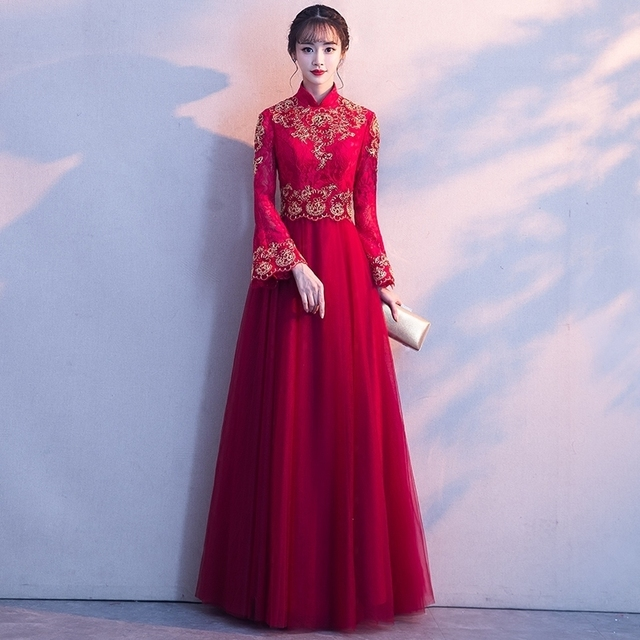 Red Online Korean Dress Wedding Qipao Modern Embroidery Loose ...