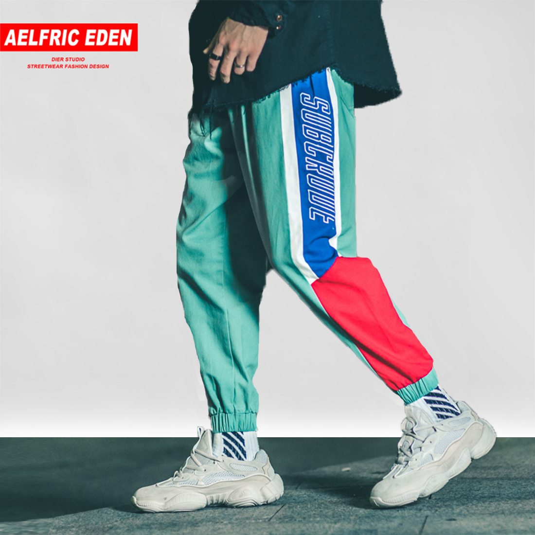 Aelfric Eden 2018 Casual Men Pants Color Block Patchwork Harem Joggers Harajuku Male Sweatpants Hip Hop Trousers Streetwear B059