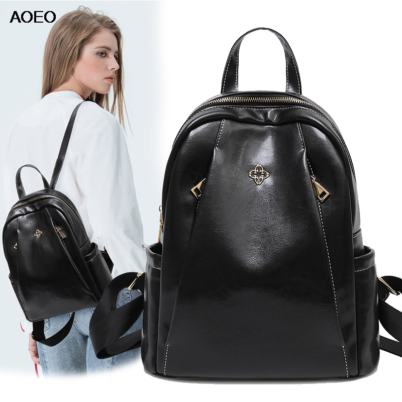 Aoeo Women Backpack With Leather Handle Waterproof Double Anti Theft Hidden Pocket For Girls Bag Ladies Schoolbag Female